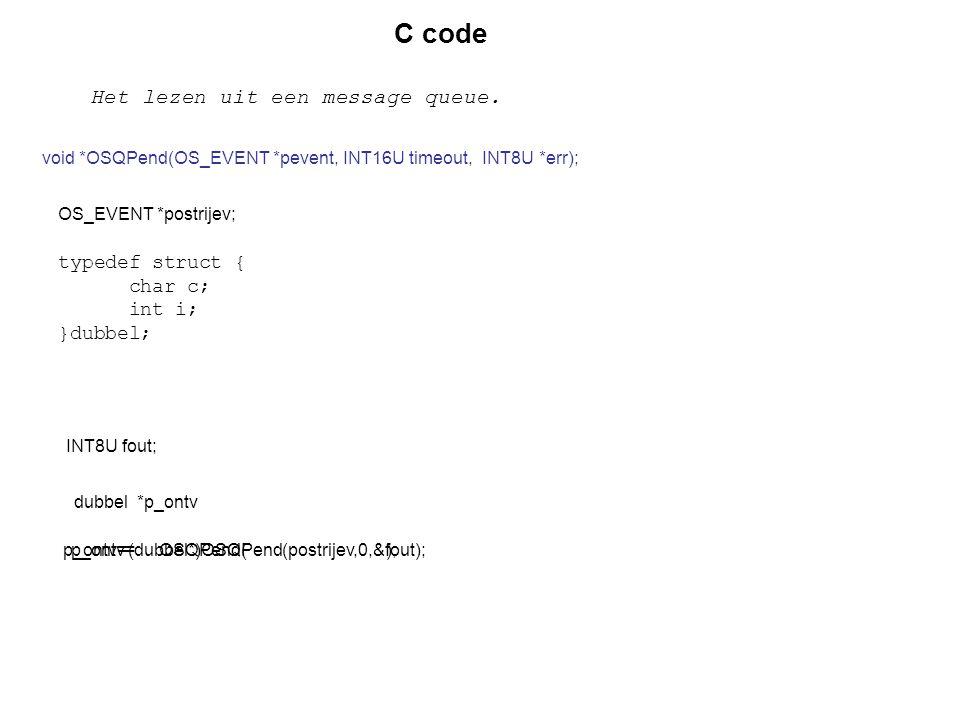 C code Het lezen uit een message queue. typedef struct { char c;