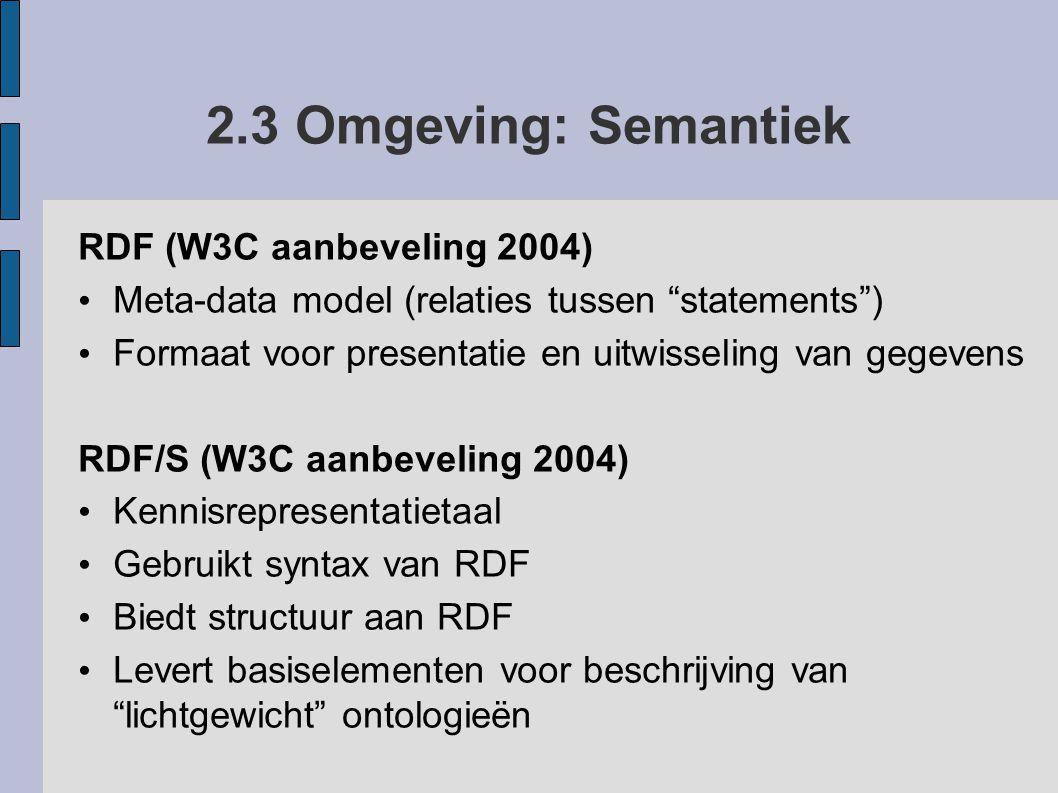 2.3 Omgeving: Semantiek RDF (W3C aanbeveling 2004)