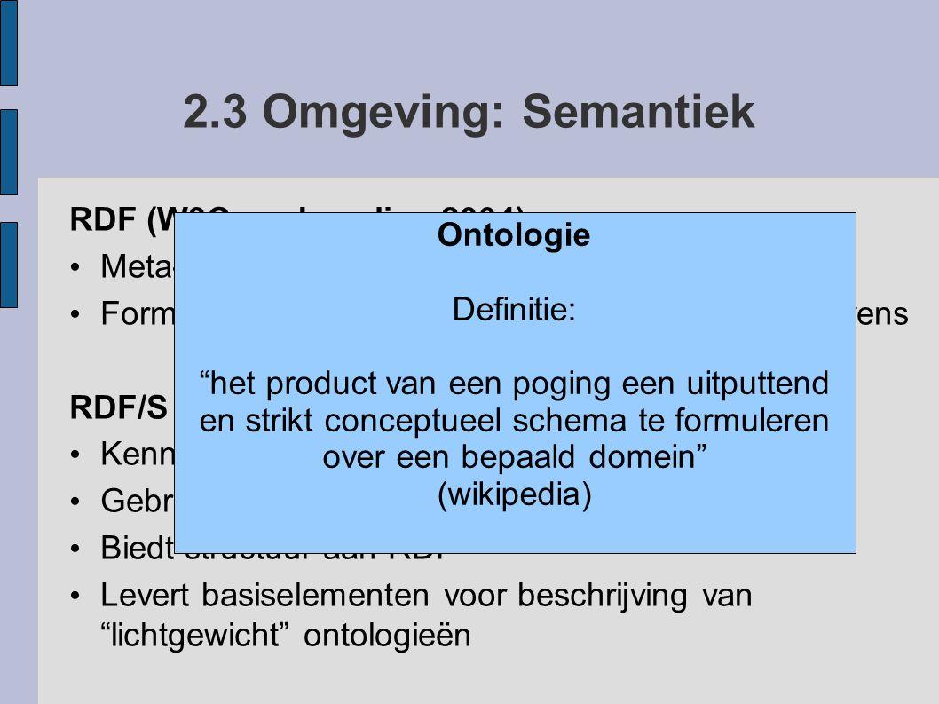 2.3 Omgeving: Semantiek RDF (W3C aanbeveling 2004) Ontologie