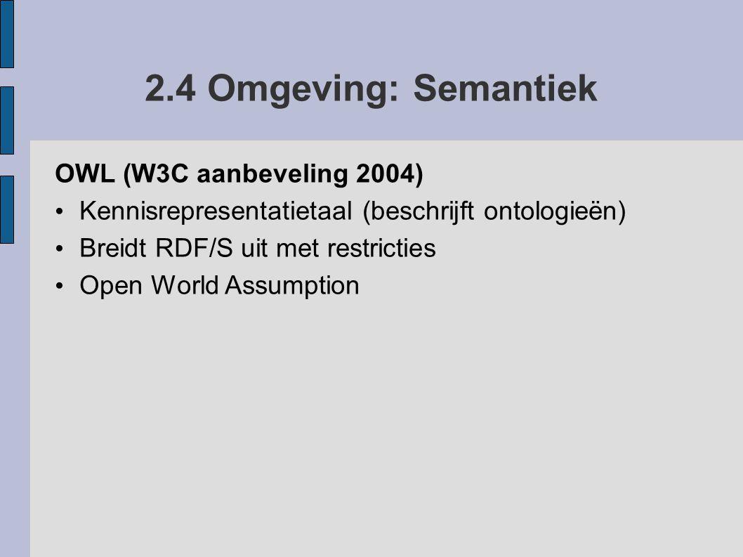 2.4 Omgeving: Semantiek OWL (W3C aanbeveling 2004)