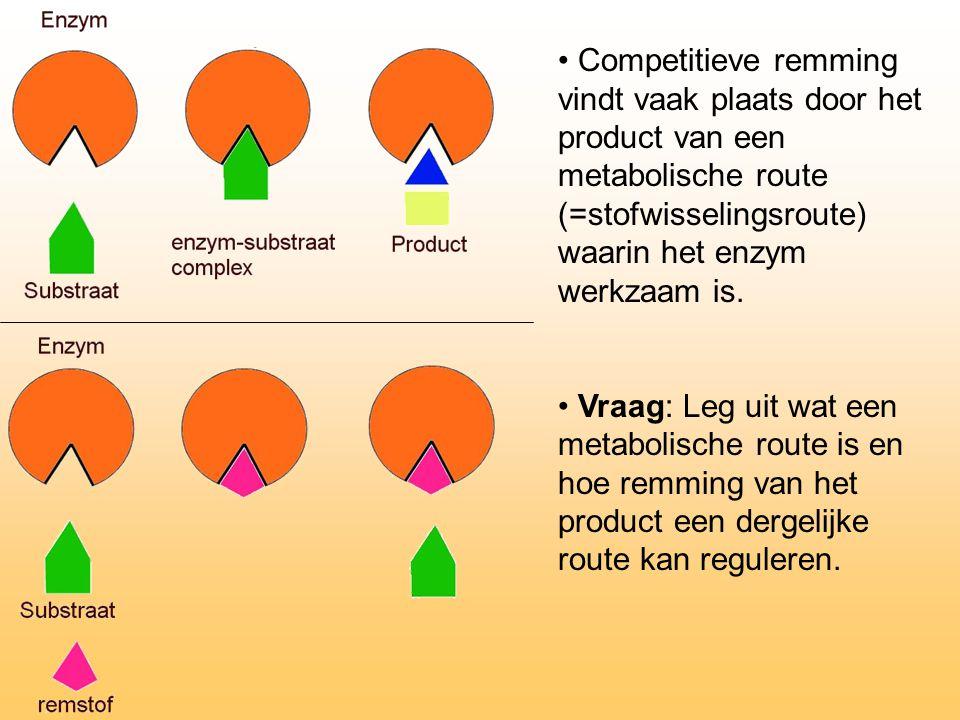 Competitieve remming vindt vaak plaats door het product van een metabolische route (=stofwisselingsroute) waarin het enzym werkzaam is.