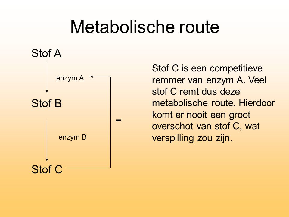 Metabolische route - Stof A Stof B Stof C