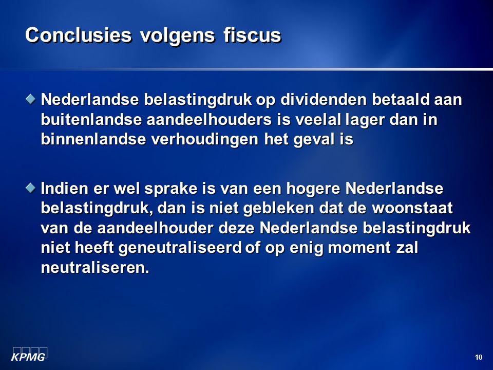 Conclusies volgens fiscus