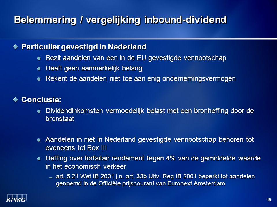 Belemmering / vergelijking inbound-dividend
