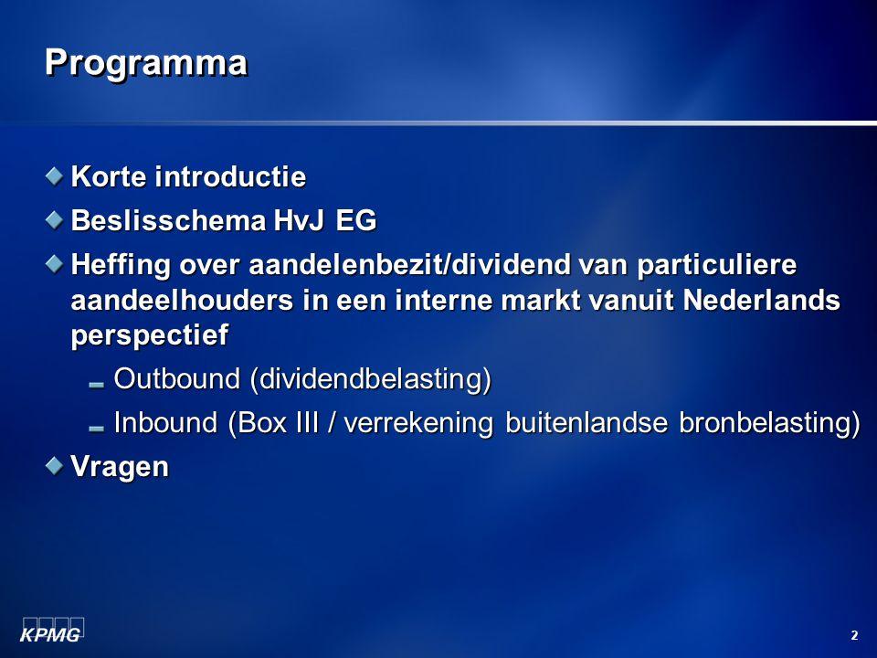 Programma Korte introductie Beslisschema HvJ EG