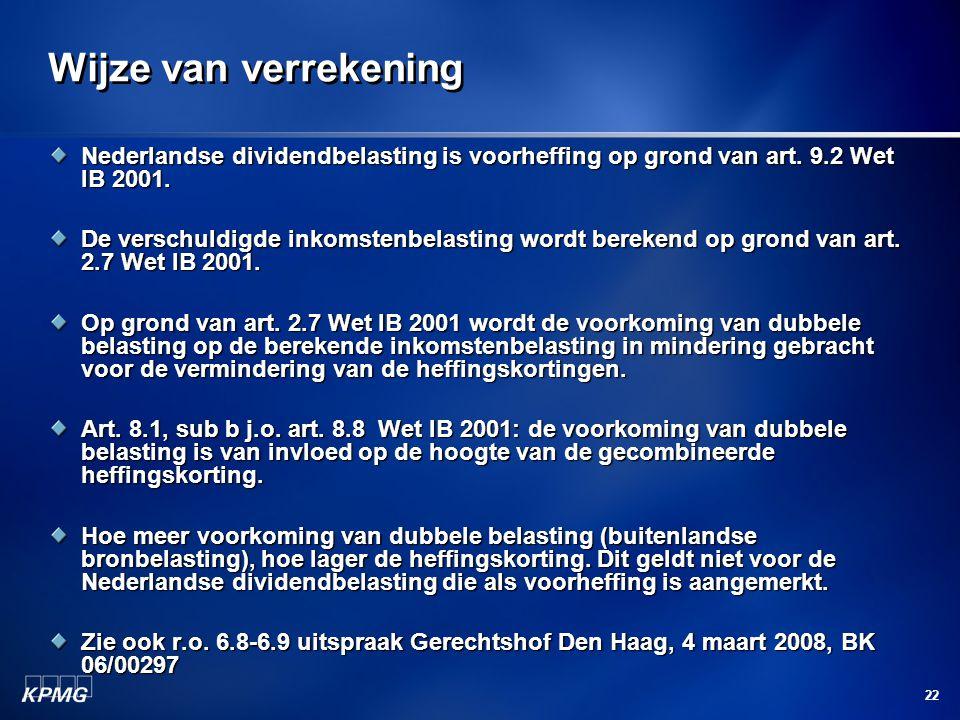 Wijze van verrekening Nederlandse dividendbelasting is voorheffing op grond van art. 9.2 Wet IB 2001.
