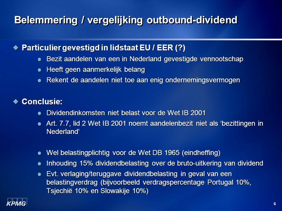 Belemmering / vergelijking outbound-dividend