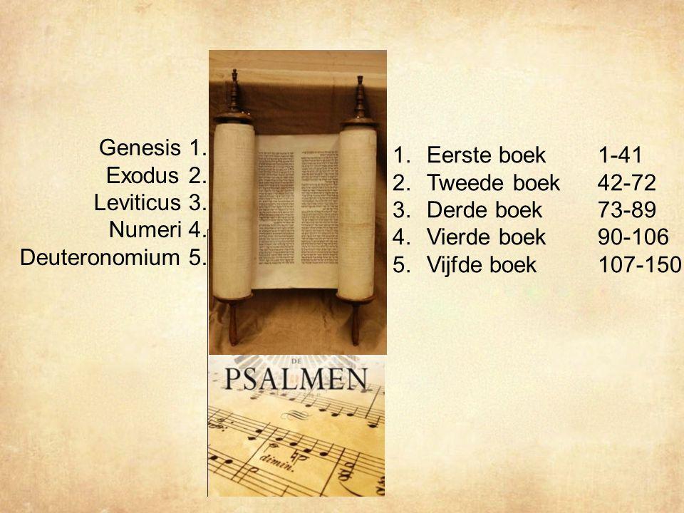 Genesis 1. Eerste boek 1-41 Exodus 2. Tweede boek 42-72 Leviticus 3.