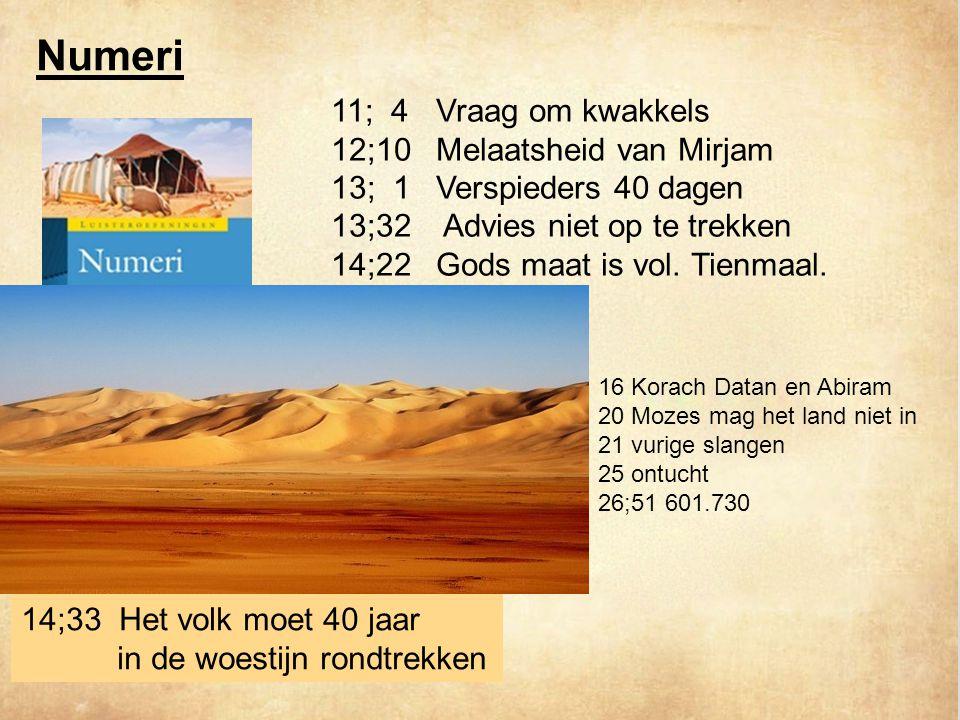 Numeri 11; 4 Vraag om kwakkels 12;10 Melaatsheid van Mirjam
