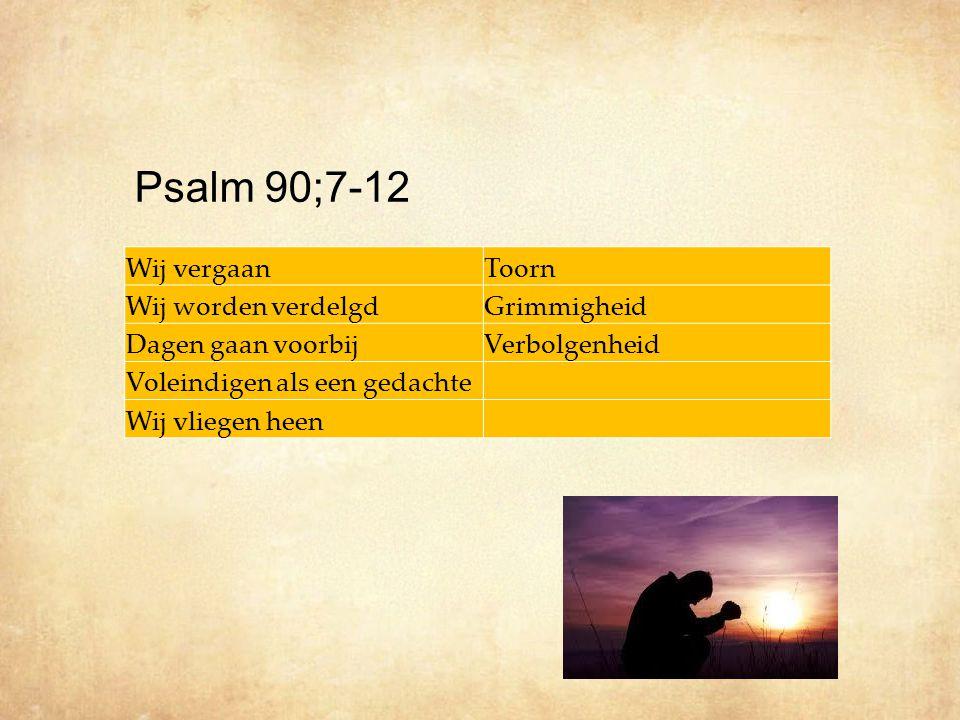 Psalm 90;7-12 Wij vergaan Toorn Wij worden verdelgd Grimmigheid