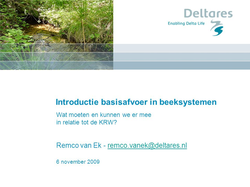 Introductie basisafvoer in beeksystemen