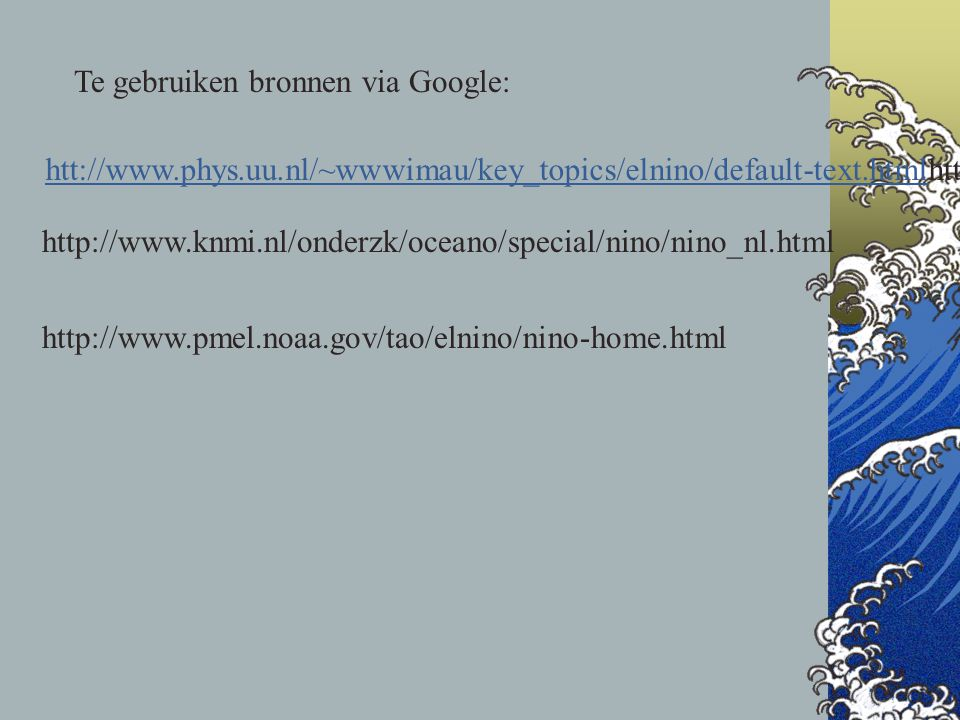 Te gebruiken bronnen via Google: