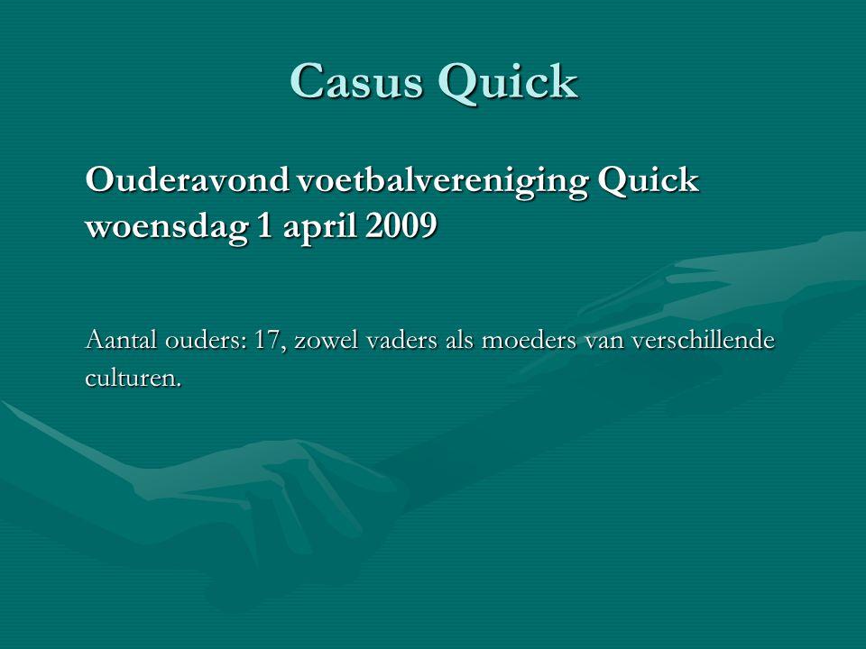 Casus Quick Ouderavond voetbalvereniging Quick woensdag 1 april 2009