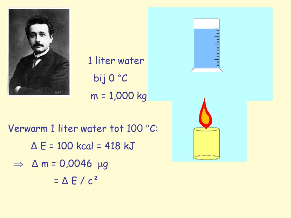 1 liter water bij 0 °C. m = 1,000 kg. Verwarm 1 liter water tot 100 °C: Δ E = 100 kcal = 418 kJ.