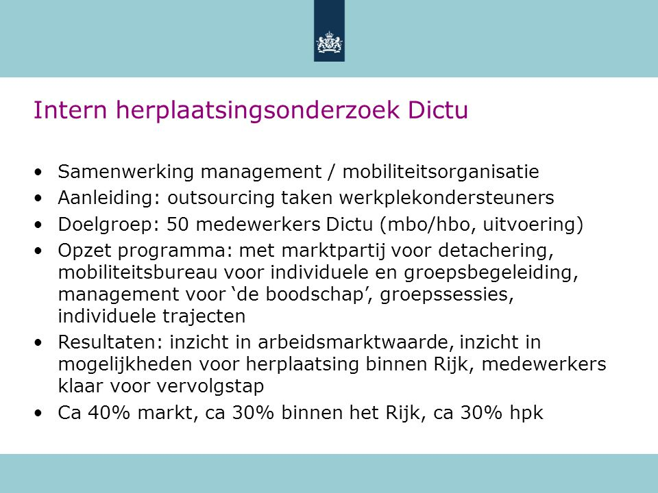 Intern herplaatsingsonderzoek Dictu
