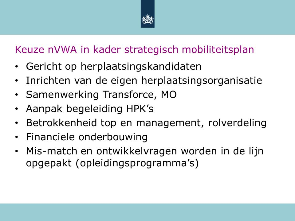 Keuze nVWA in kader strategisch mobiliteitsplan