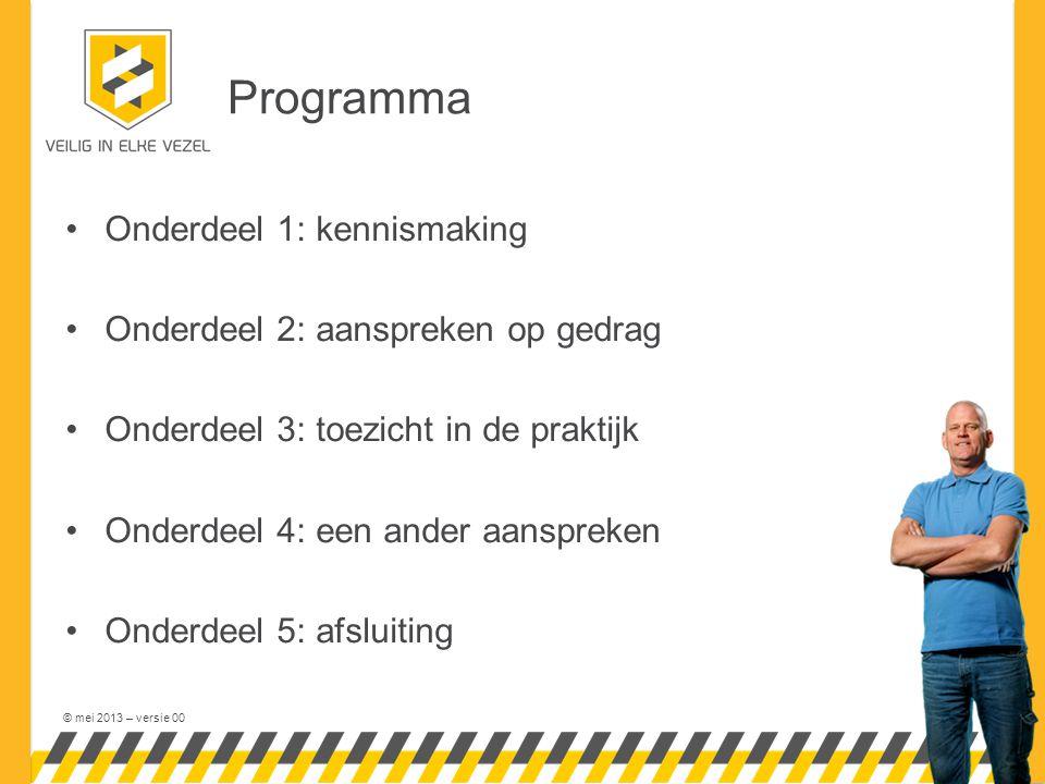 Programma Onderdeel 1: kennismaking Onderdeel 2: aanspreken op gedrag