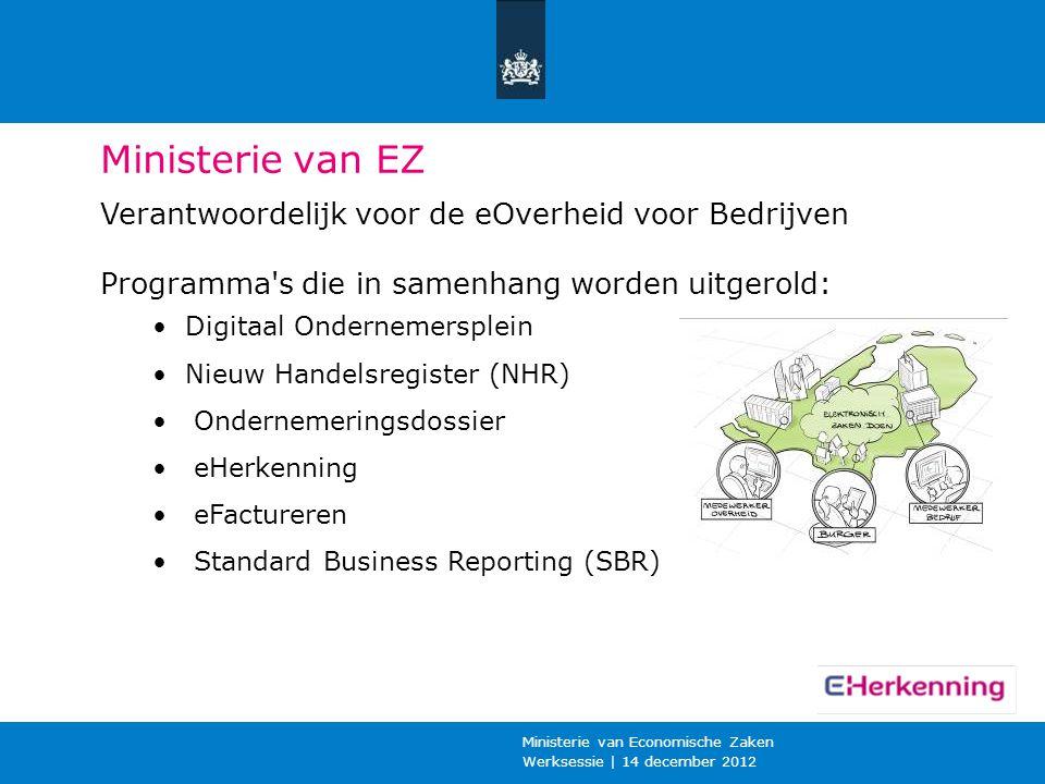 Ministerie van EZ Verantwoordelijk voor de eOverheid voor Bedrijven