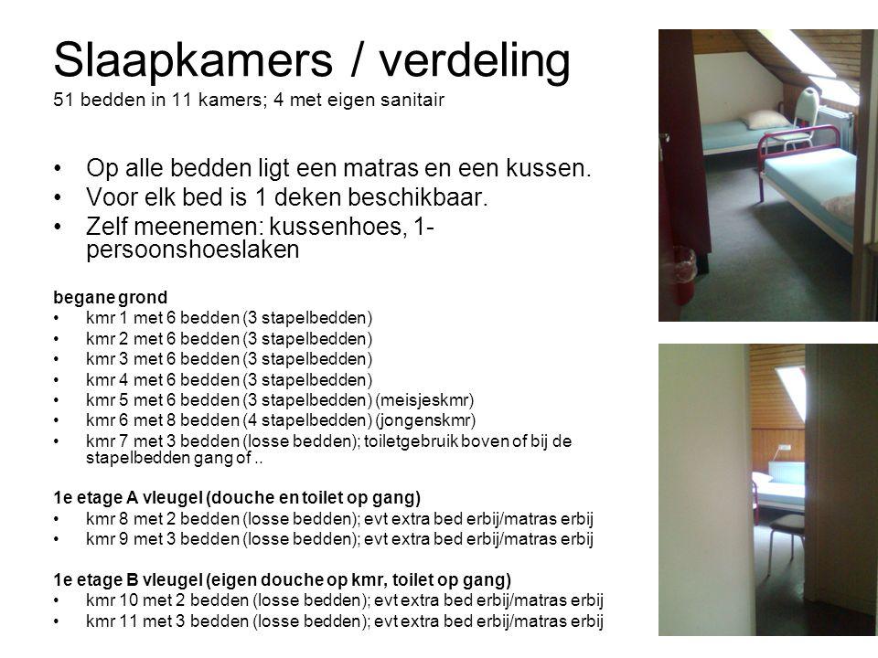 Slaapkamers / verdeling 51 bedden in 11 kamers; 4 met eigen sanitair