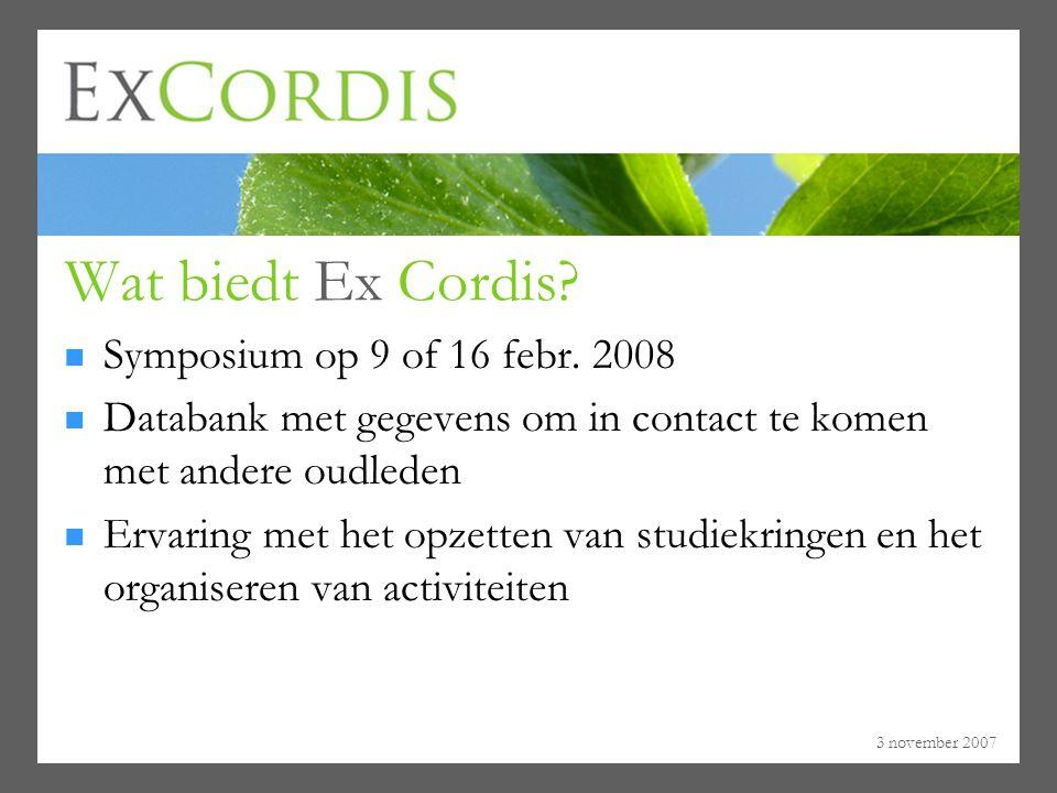 Wat biedt Ex Cordis Symposium op 9 of 16 febr. 2008