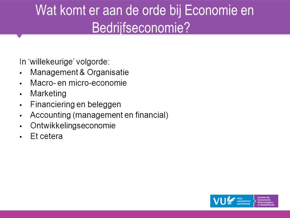Wat komt er aan de orde bij Economie en Bedrijfseconomie