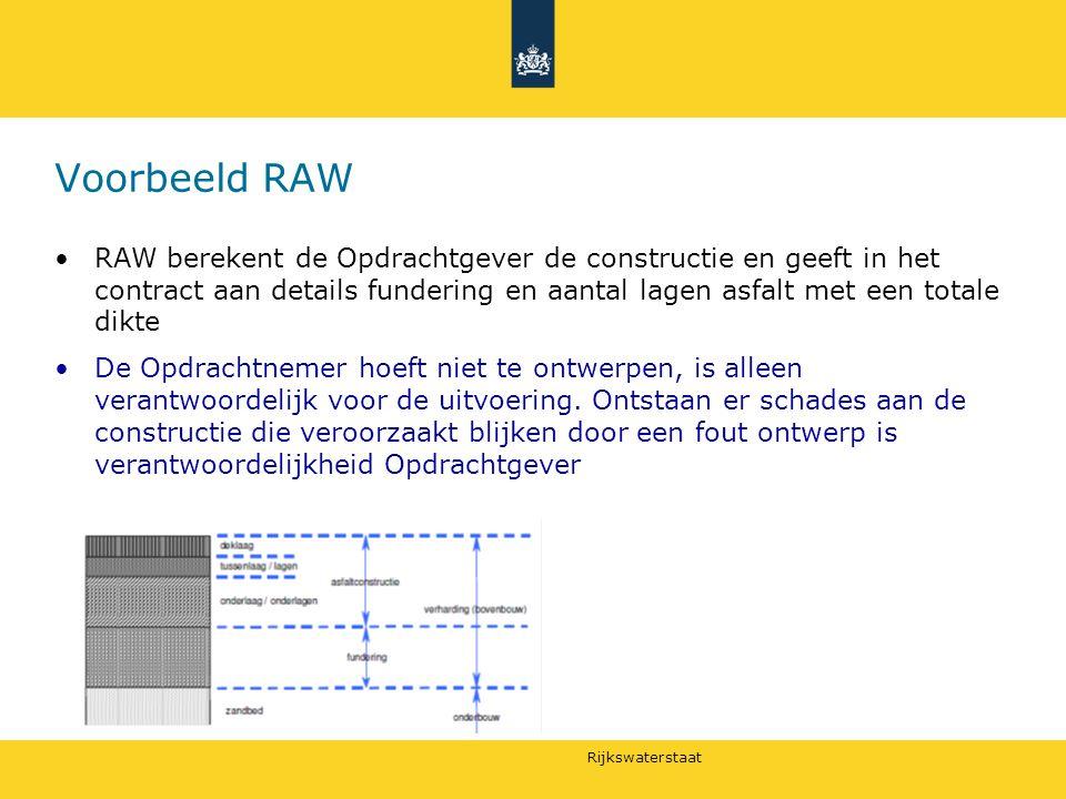 Voorbeeld RAW RAW berekent de Opdrachtgever de constructie en geeft in het contract aan details fundering en aantal lagen asfalt met een totale dikte.