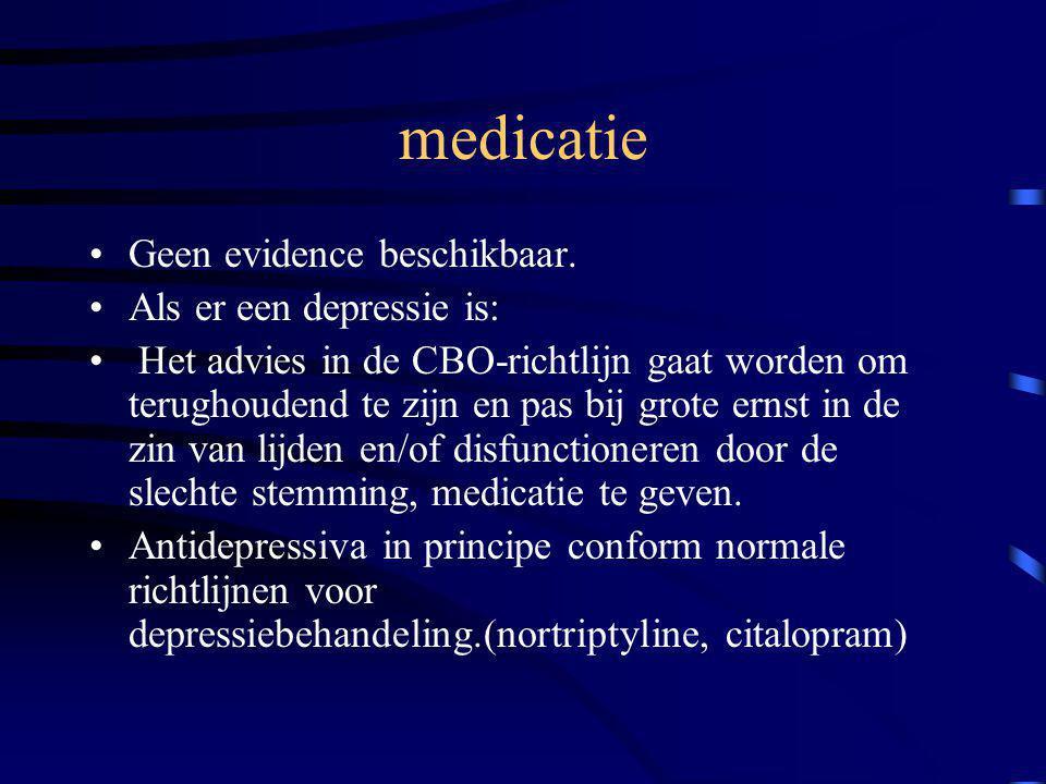 medicatie Geen evidence beschikbaar. Als er een depressie is: