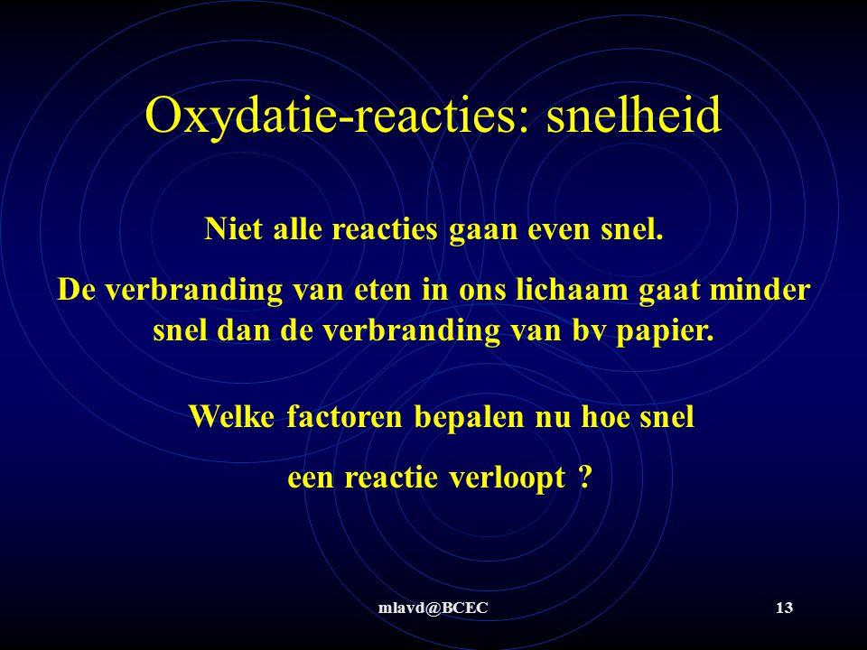 Oxydatie-reacties: snelheid