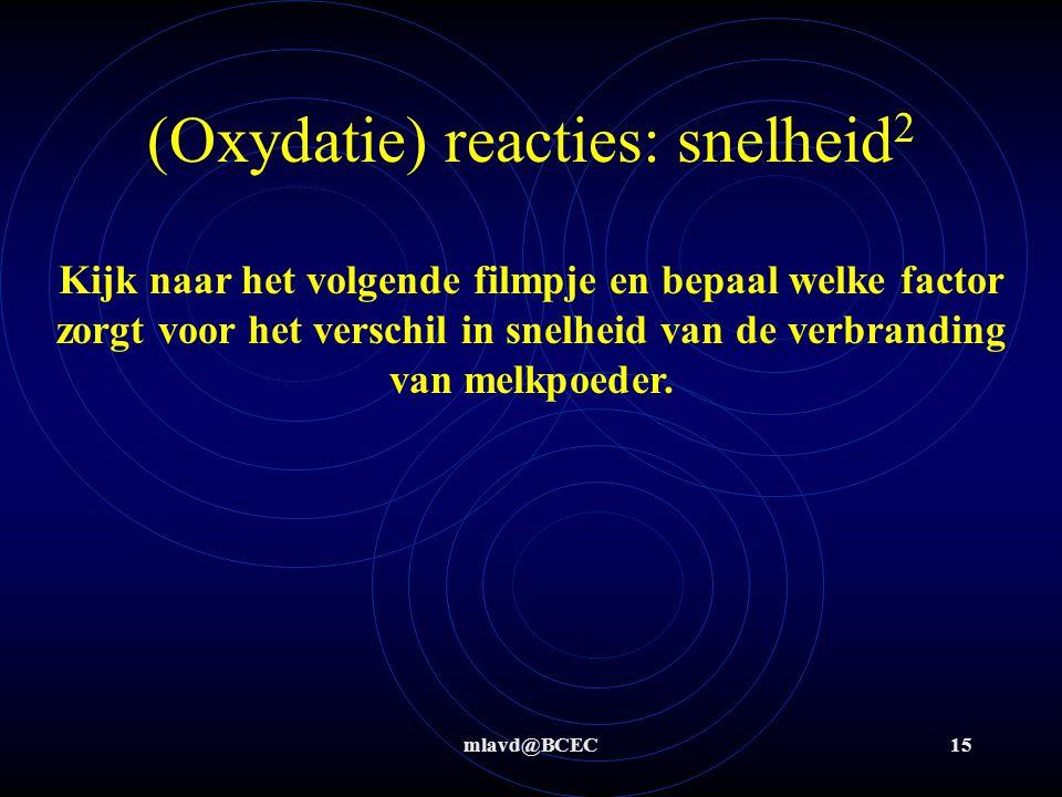(Oxydatie) reacties: snelheid2