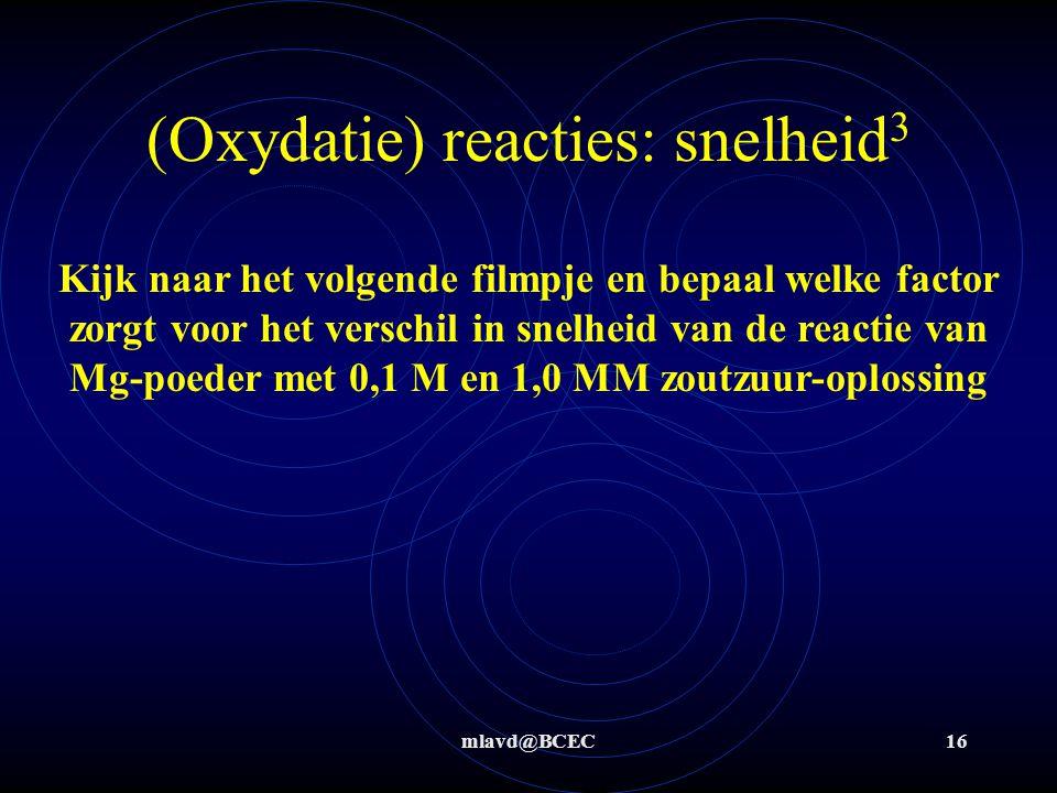 (Oxydatie) reacties: snelheid3