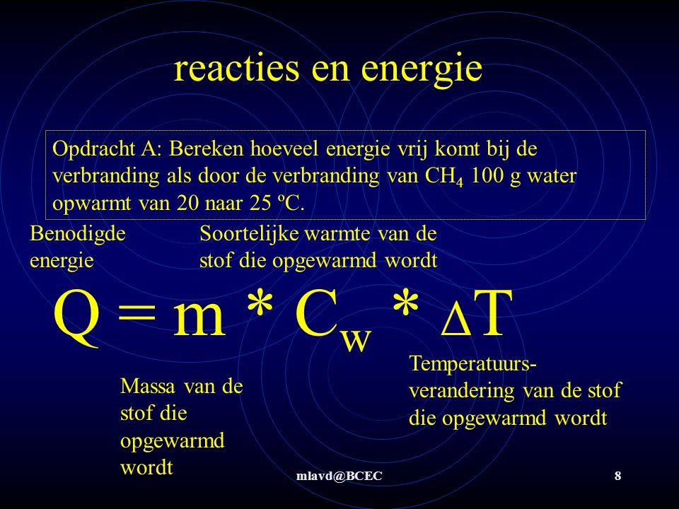 Q = m * Cw * ΔT reacties en energie