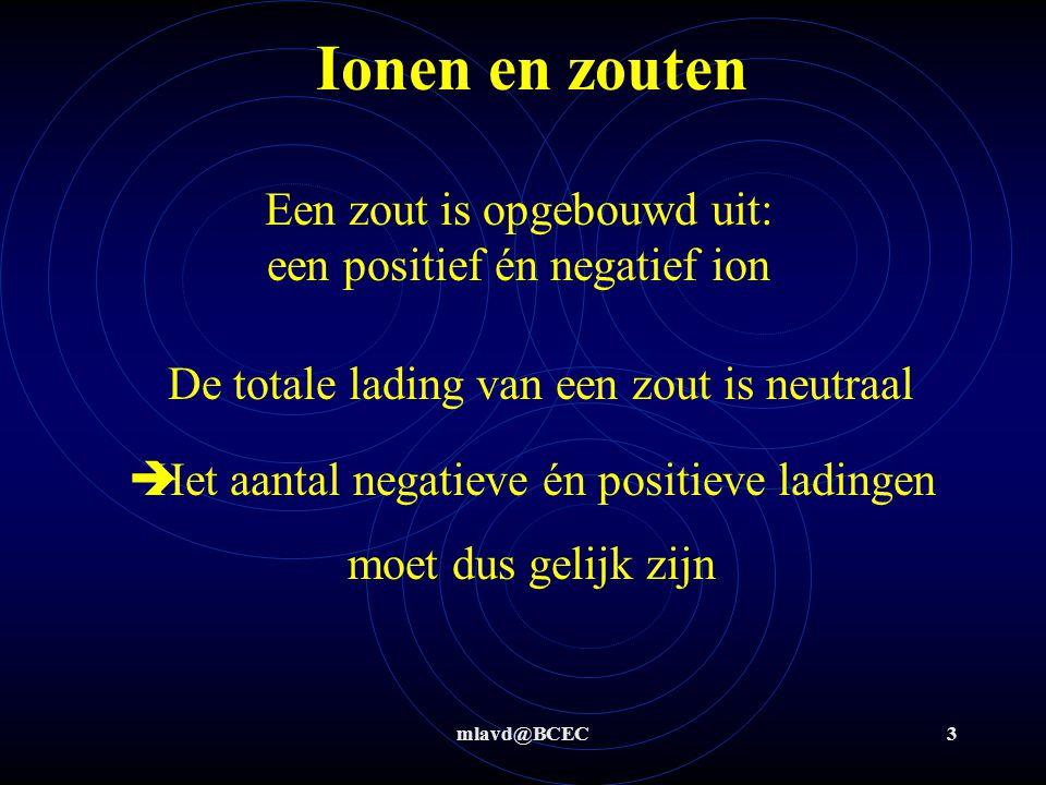 Ionen en zouten Een zout is opgebouwd uit: een positief én negatief ion. De totale lading van een zout is neutraal.