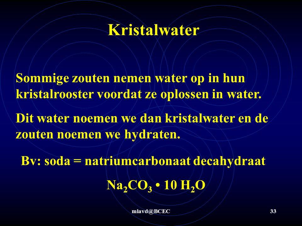 Kristalwater Sommige zouten nemen water op in hun kristalrooster voordat ze oplossen in water.