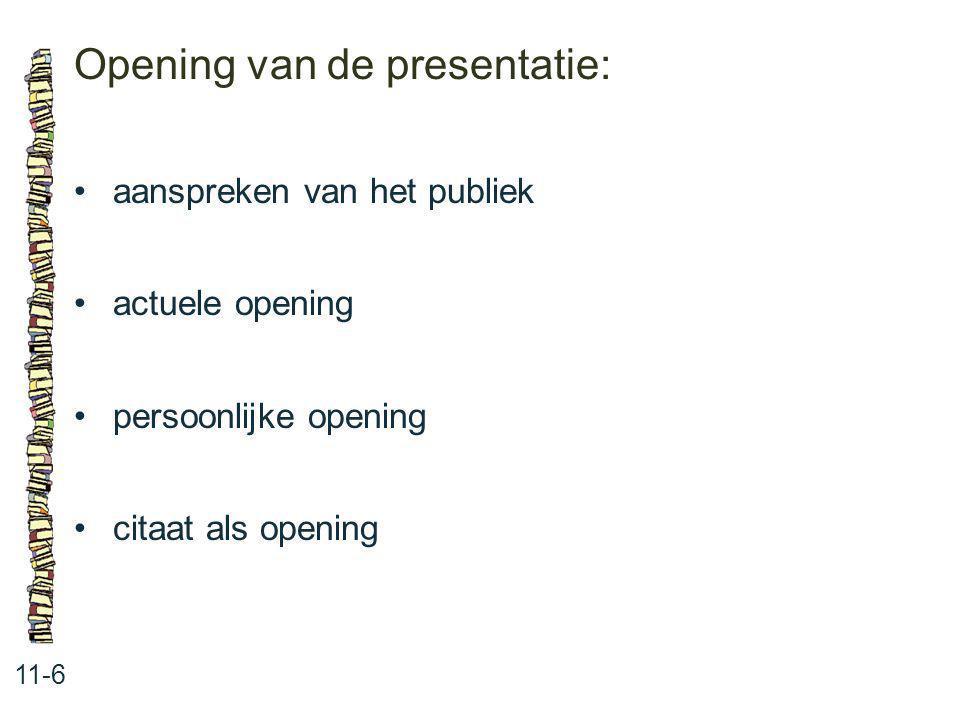 Opening van de presentatie: