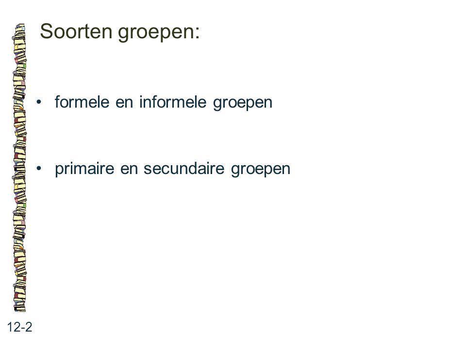 Soorten groepen: • formele en informele groepen