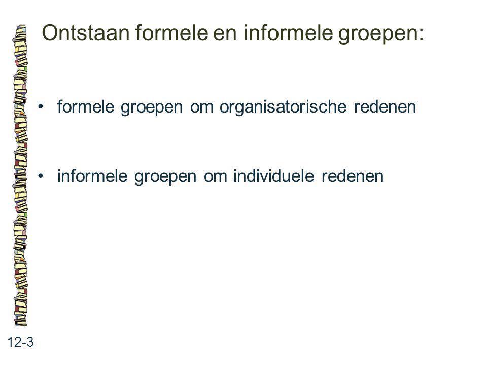 Ontstaan formele en informele groepen: