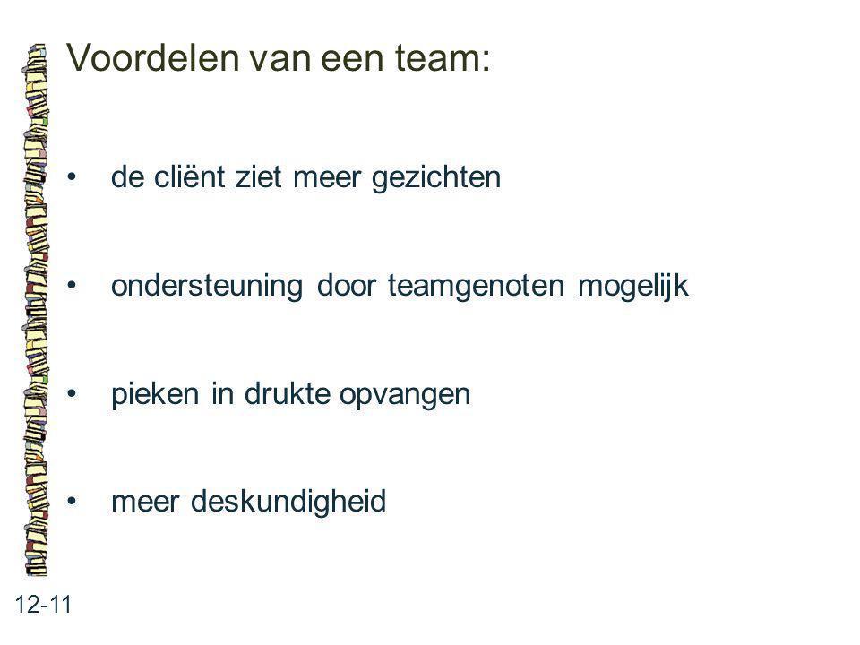 Voordelen van een team: