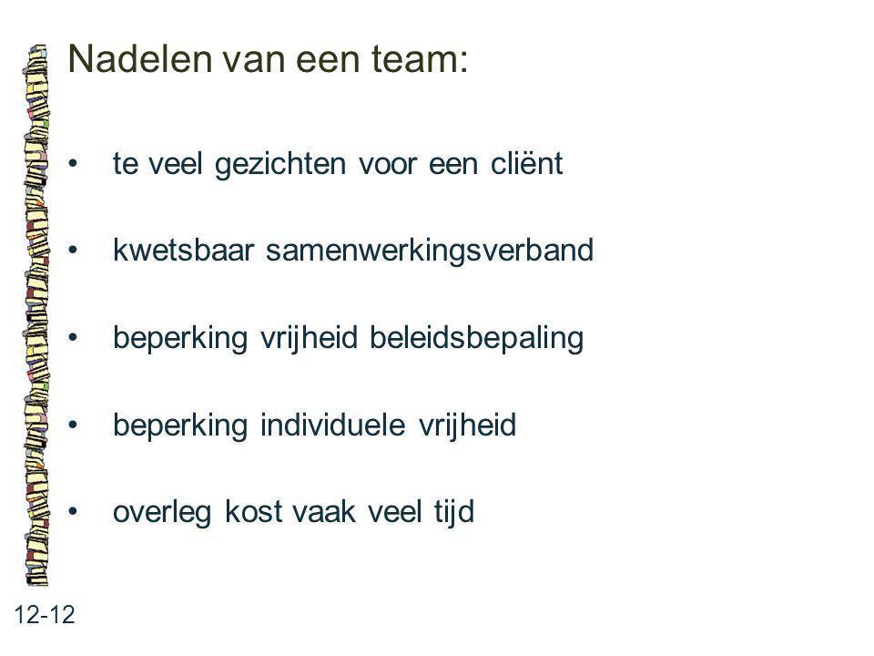 Nadelen van een team: • te veel gezichten voor een cliënt