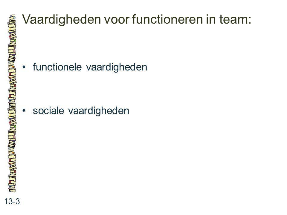 Vaardigheden voor functioneren in team: