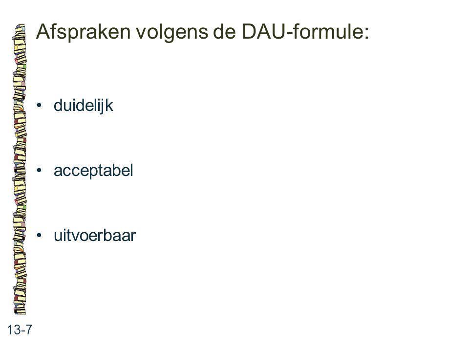 Afspraken volgens de DAU-formule: