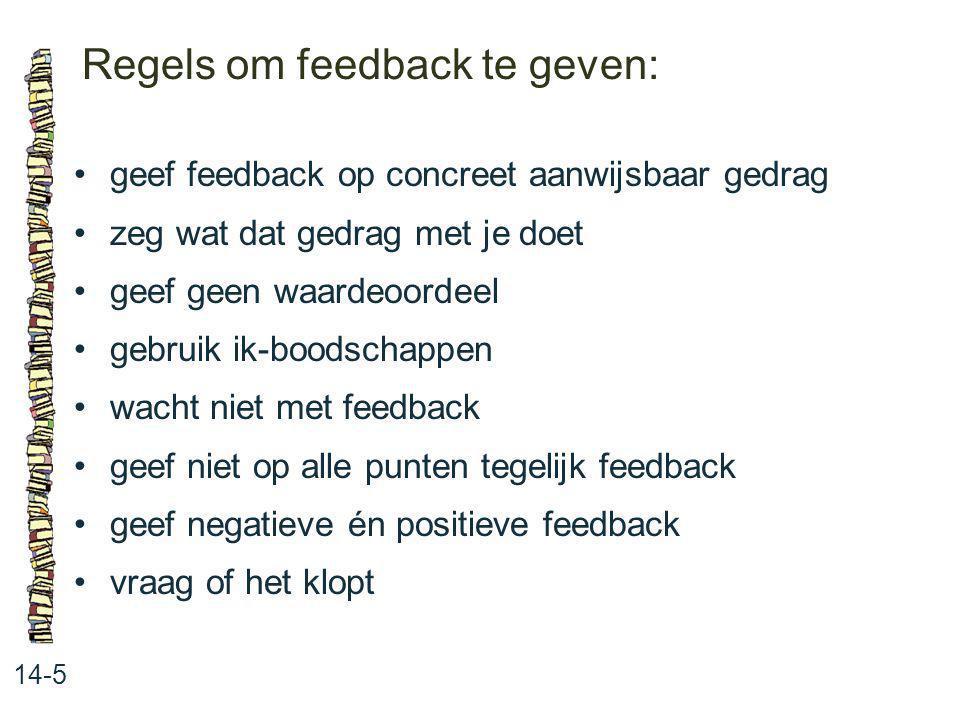 Regels om feedback te geven: