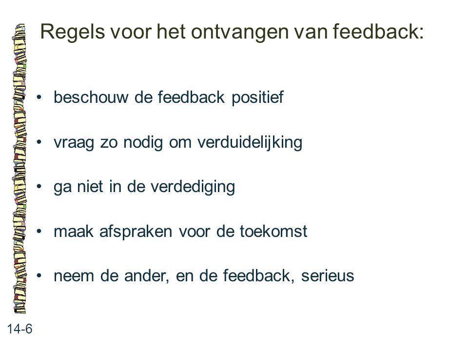 Regels voor het ontvangen van feedback: