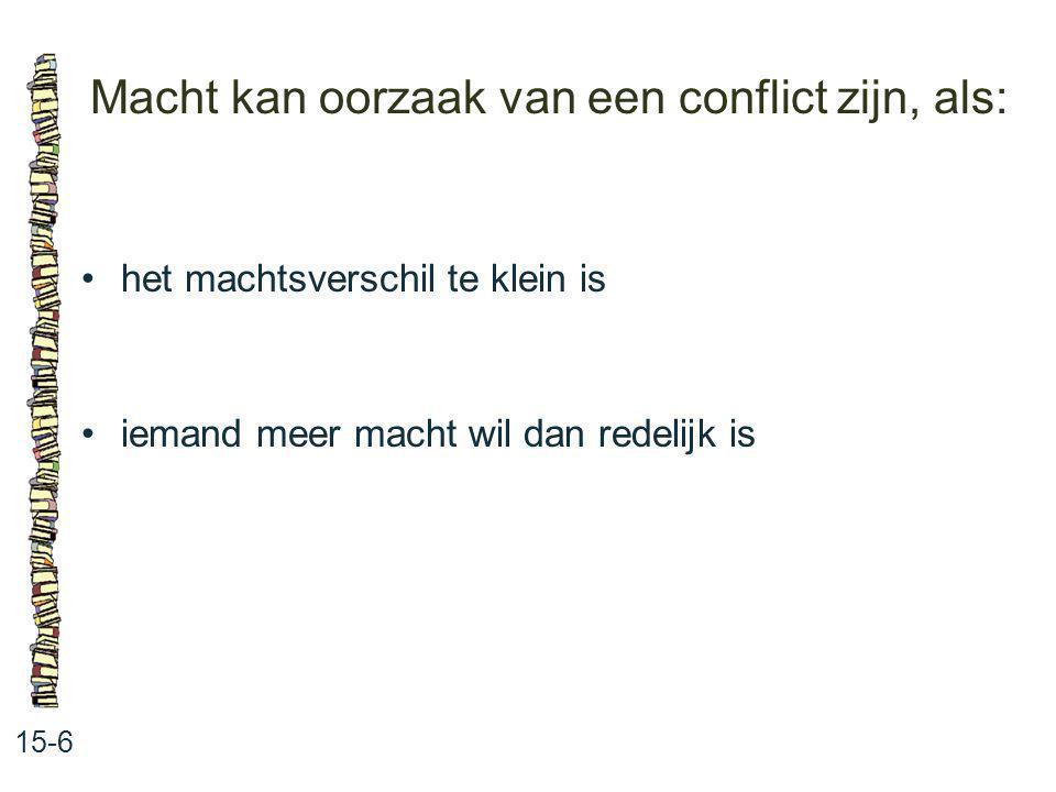 Macht kan oorzaak van een conflict zijn, als: