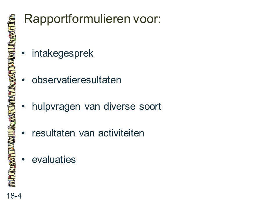 Rapportformulieren voor: