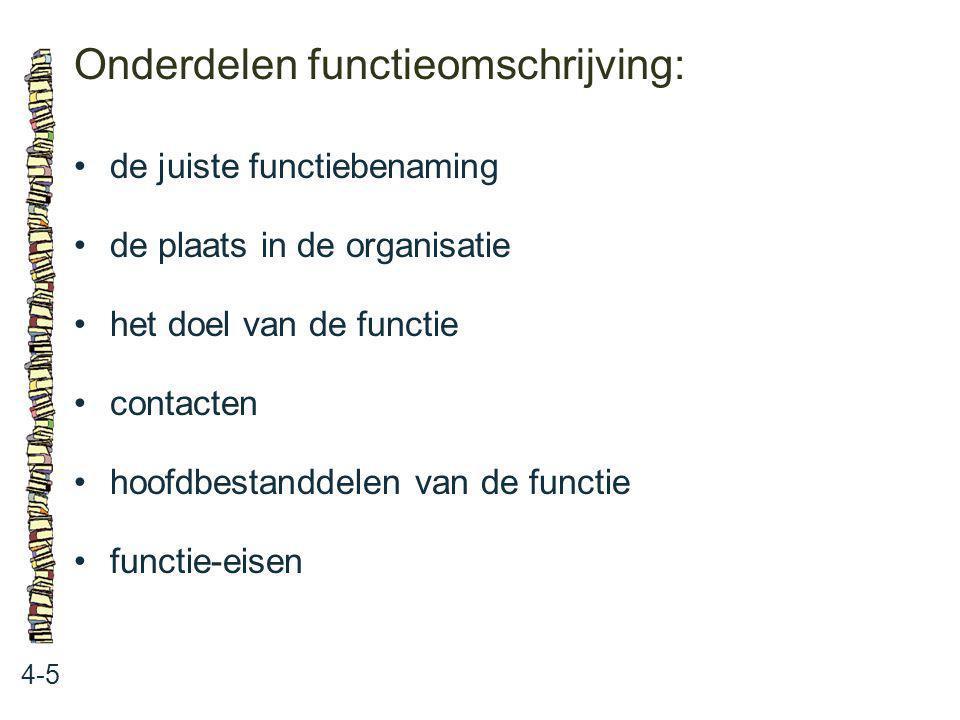 Onderdelen functieomschrijving: