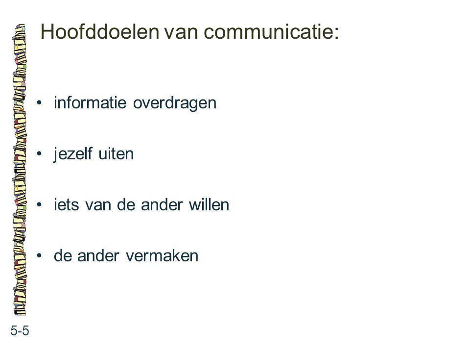Hoofddoelen van communicatie: