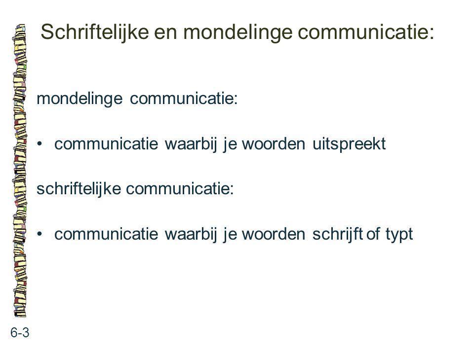 Schriftelijke en mondelinge communicatie: