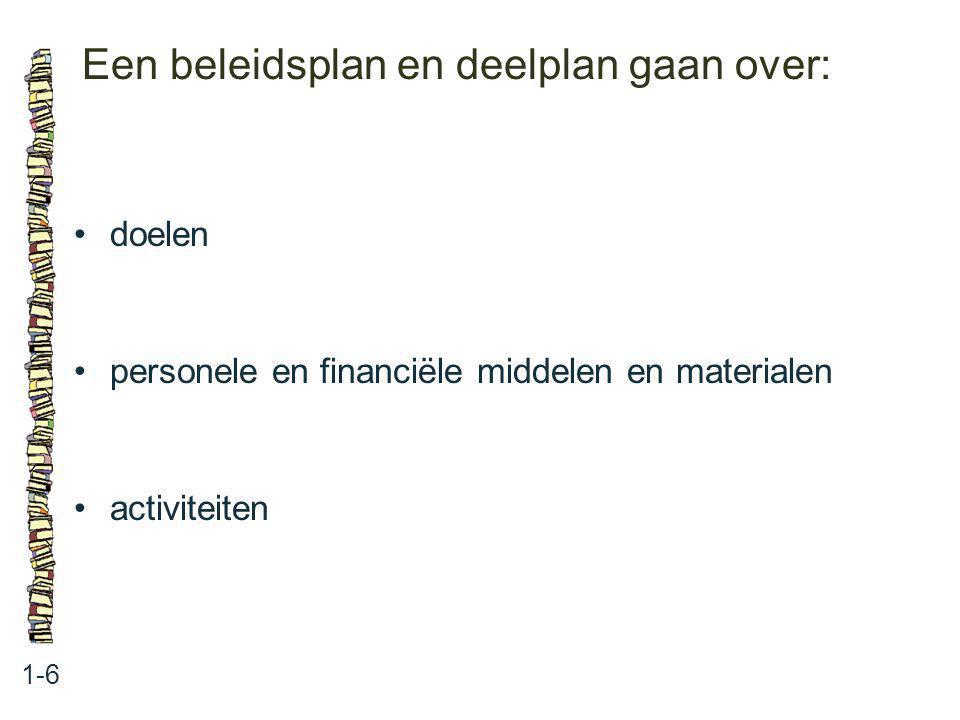 Een beleidsplan en deelplan gaan over:
