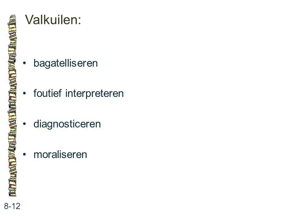 Valkuilen: • bagatelliseren • foutief interpreteren • diagnosticeren