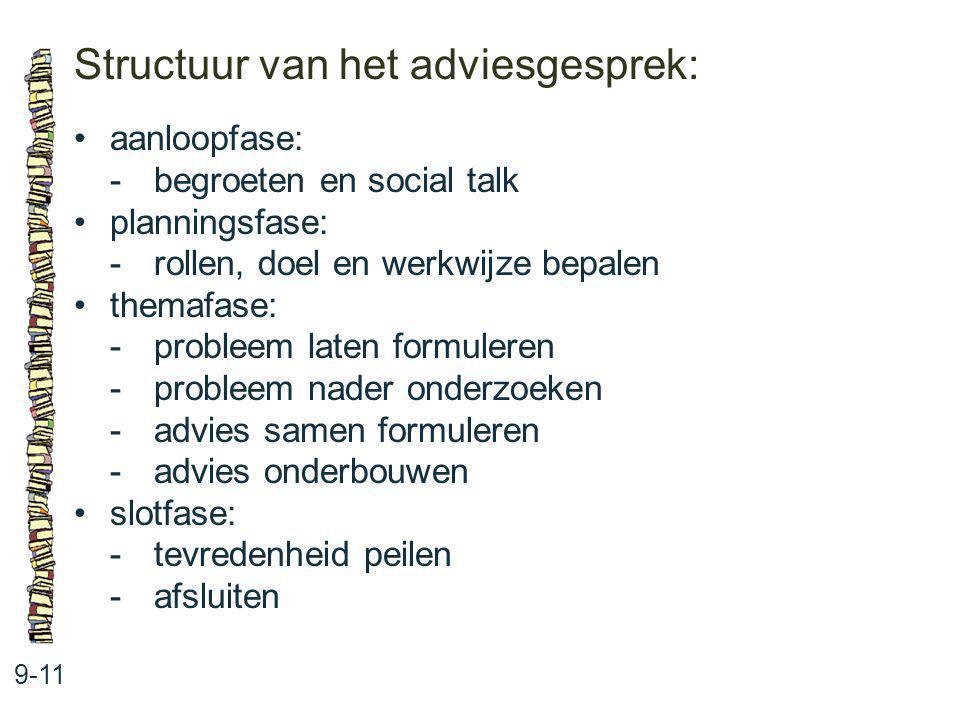 Structuur van het adviesgesprek: